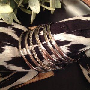 Jewelry - Set of 7 Silver Bangle Bracelets